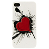 Exian Heart on Ink iPhone 4/4S Case (4G094) - Red/ White