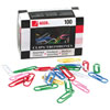 Acco Jumbo Vinyl Coated Colour Paper Clips (ACC72523) - 100 Pack - Assorted Colours