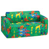 Comfy Kids - Kids Flip Sofa - Green Animal Print