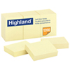 """Highland 1.5"""" x 2"""" Sticky Note Pad - 12 Pack - Yellow"""