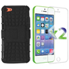 Exian Armour Stand iPhone 5c Fitted Hard Shell Case with Screen Protectors - Black