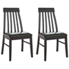 Bistro Collection Transitional Dining Chair - Set of 2 - Dark Cocoa/Chocolate Black