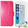 Étui portefeuille d'Exian pour iPhone 6/6s avec protecteur d'écran - Rose vif