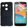 Exian LG Nexus 5x Fitted Soft Shell Stand Case with Screen Protectors - Black