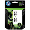HP 63 Black Ink Cartridge - 2 Pack