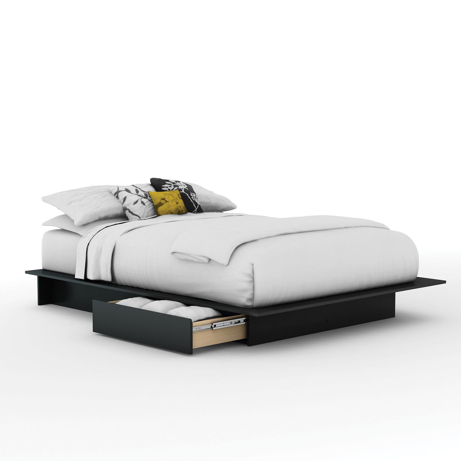 Step One Contemporary Storage Bed - Queen - Black : Beds & Bed ...