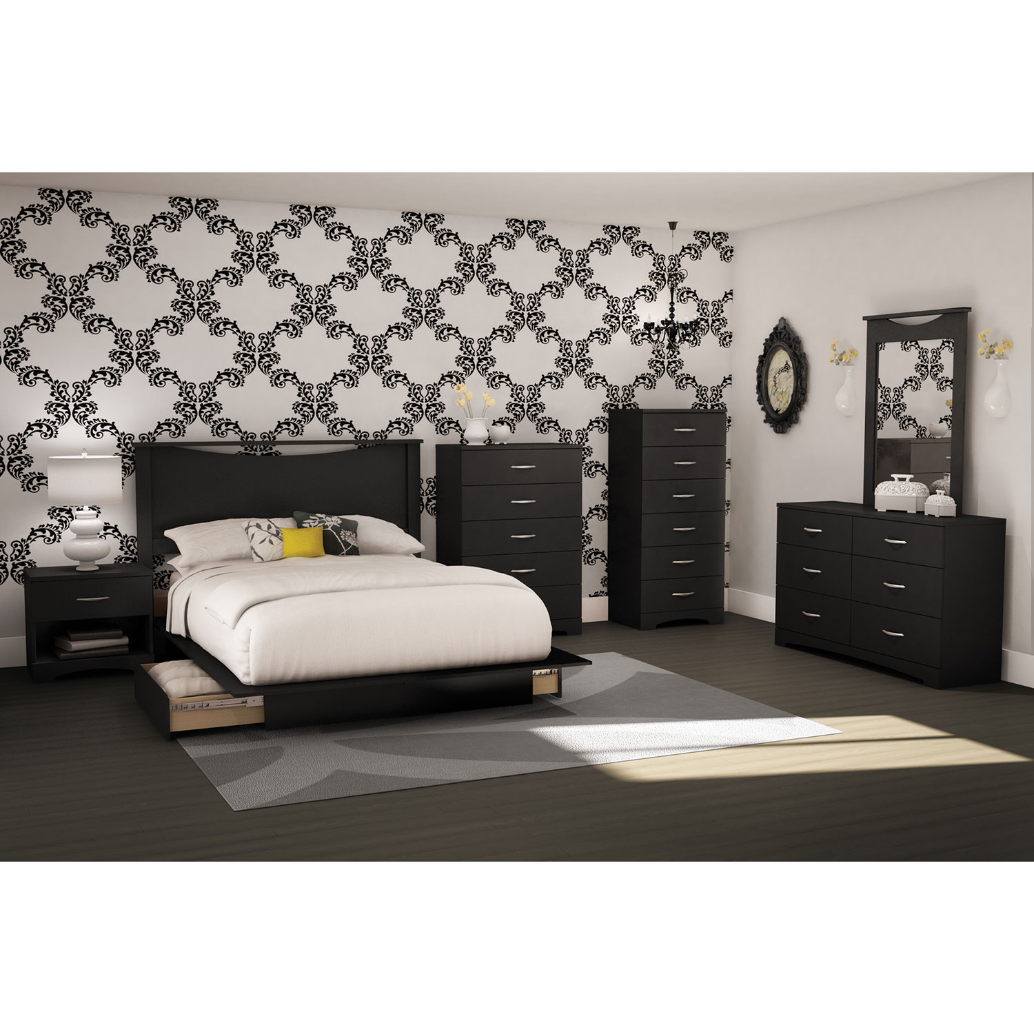 step one contemporary storage bed queen black beds bed frames best buy canada - Queen Black Bed Frame