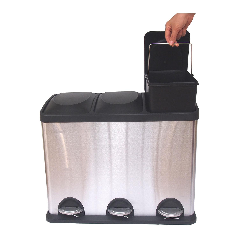 Poubelle et bac de recyclage  3 partiments de HQV Produits d