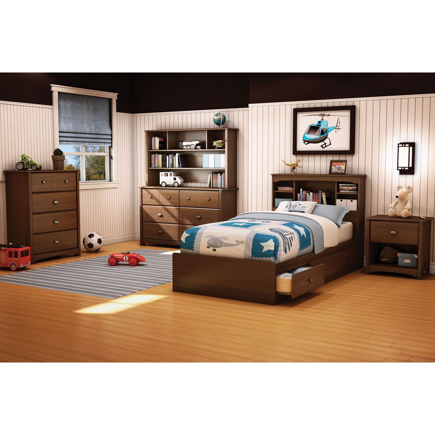 Kids Bedroom Set With Desk Willow Contemporary Kids Bed Single Cherry Brown Kids Beds