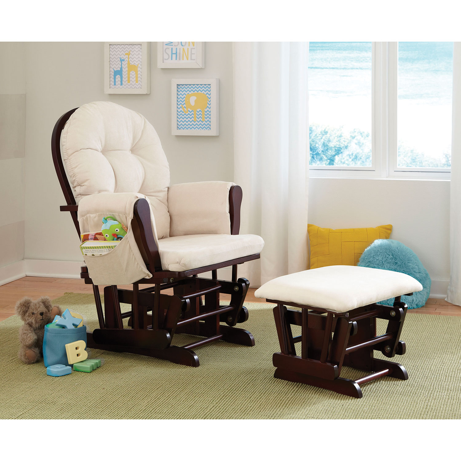 All products baby amp kids nursery furniture rocking chairs - Stork Craft Hoop Glider And Ottoman Set Espresso Beige 06550 419 Gliders Best Buy Canada