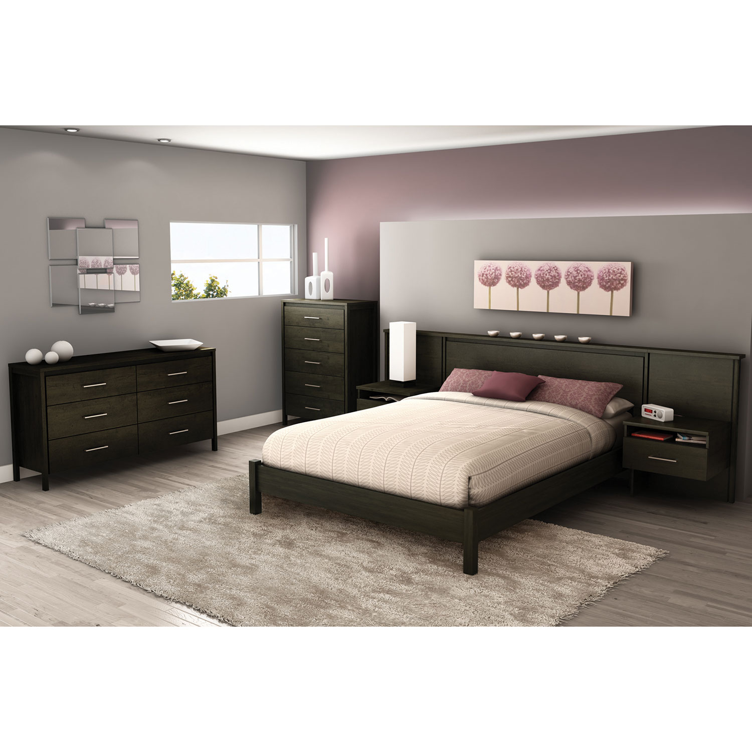 gravity contemporary platform bed  queen  ebony  beds  bed  - gravity contemporary platform bed  queen  ebony  beds  bed frames best buy canada