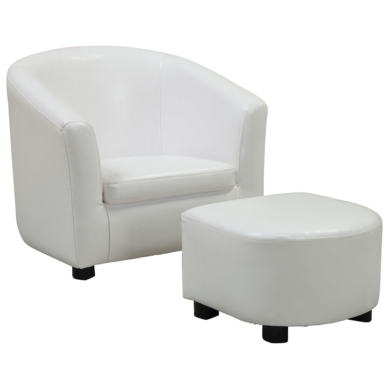 contemporary polyurethane kids chair and ottoman set  white  - contemporary polyurethane kids chair and ottoman set  white  accentchairs  best buy canada