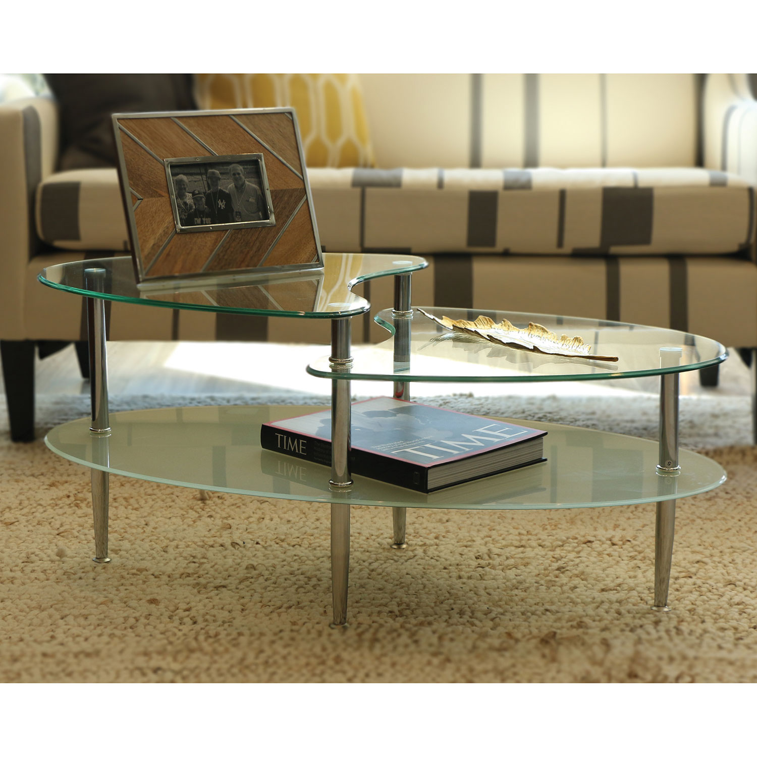 Mariner Glass Oval Coffee Table Silver Coffee Tables Best