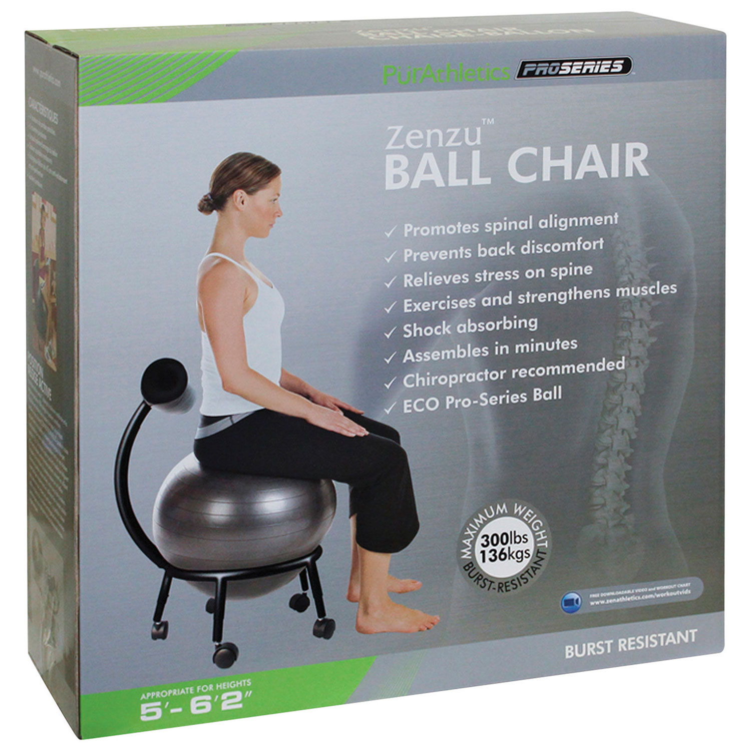 PurAthletics Ball Chair WTE Black Stability Balls