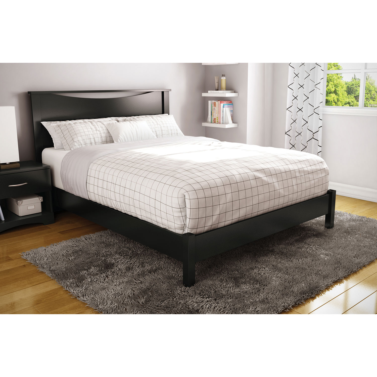 step one contemporary platform bed  queen  pure black  beds  - step one contemporary platform bed  queen  pure black  beds  bed frames best buy canada