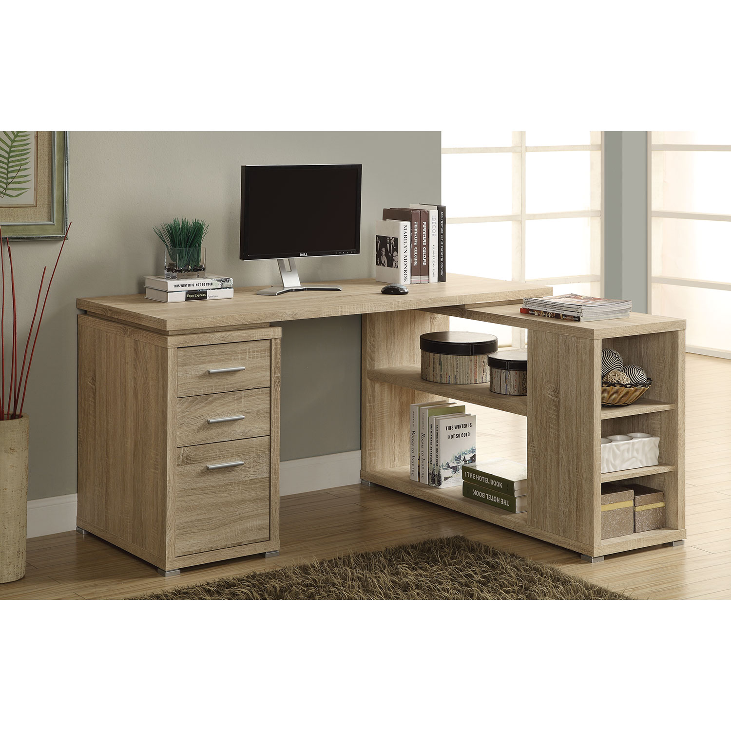 Corner Drawer 3 Drawer Corner Desk Natural Desks Workstations Best Buy