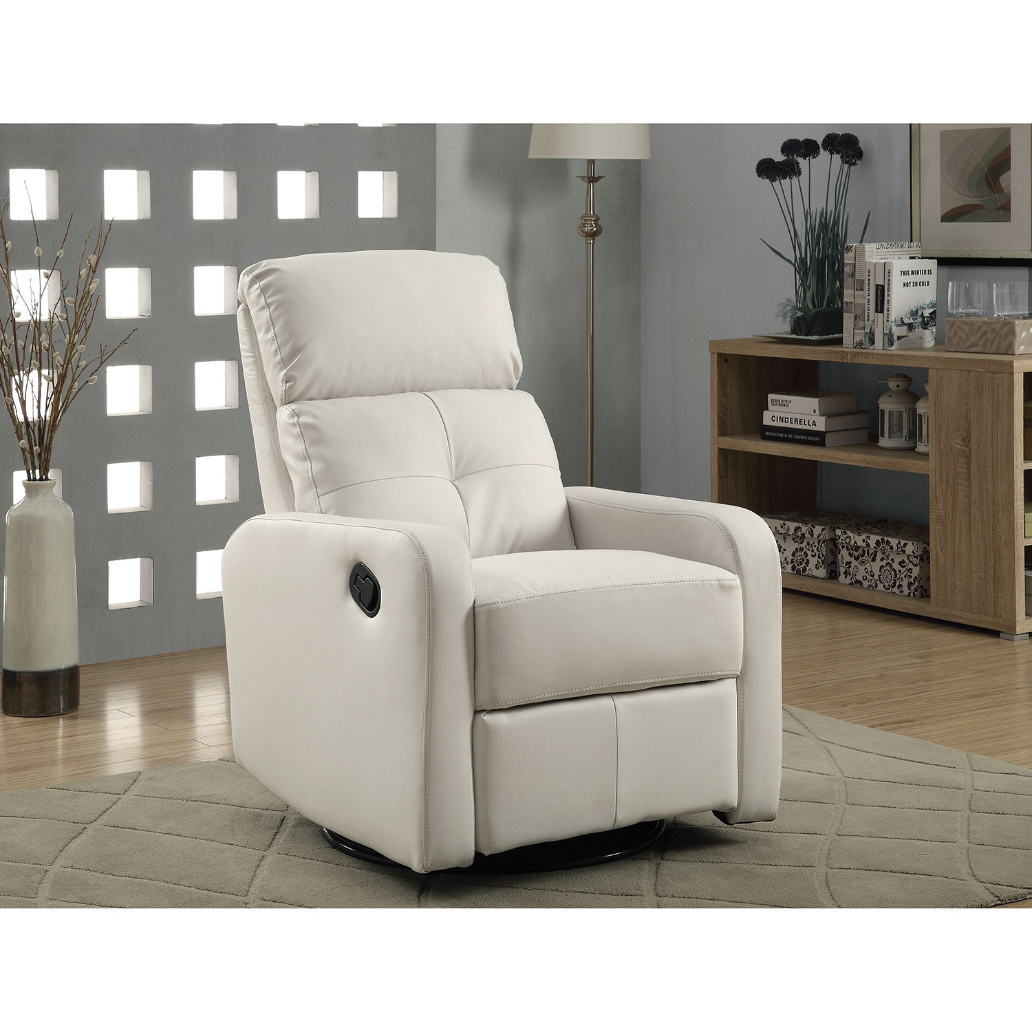 contemporary bonded leather swivel glider recliner chair white