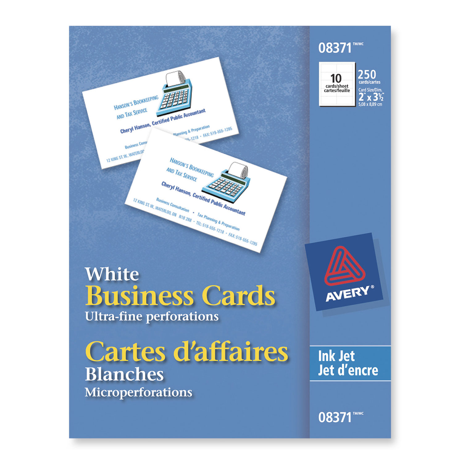 Avery Business Cards (AVE08371) - 25 Pack - White : Specialty Paper ...