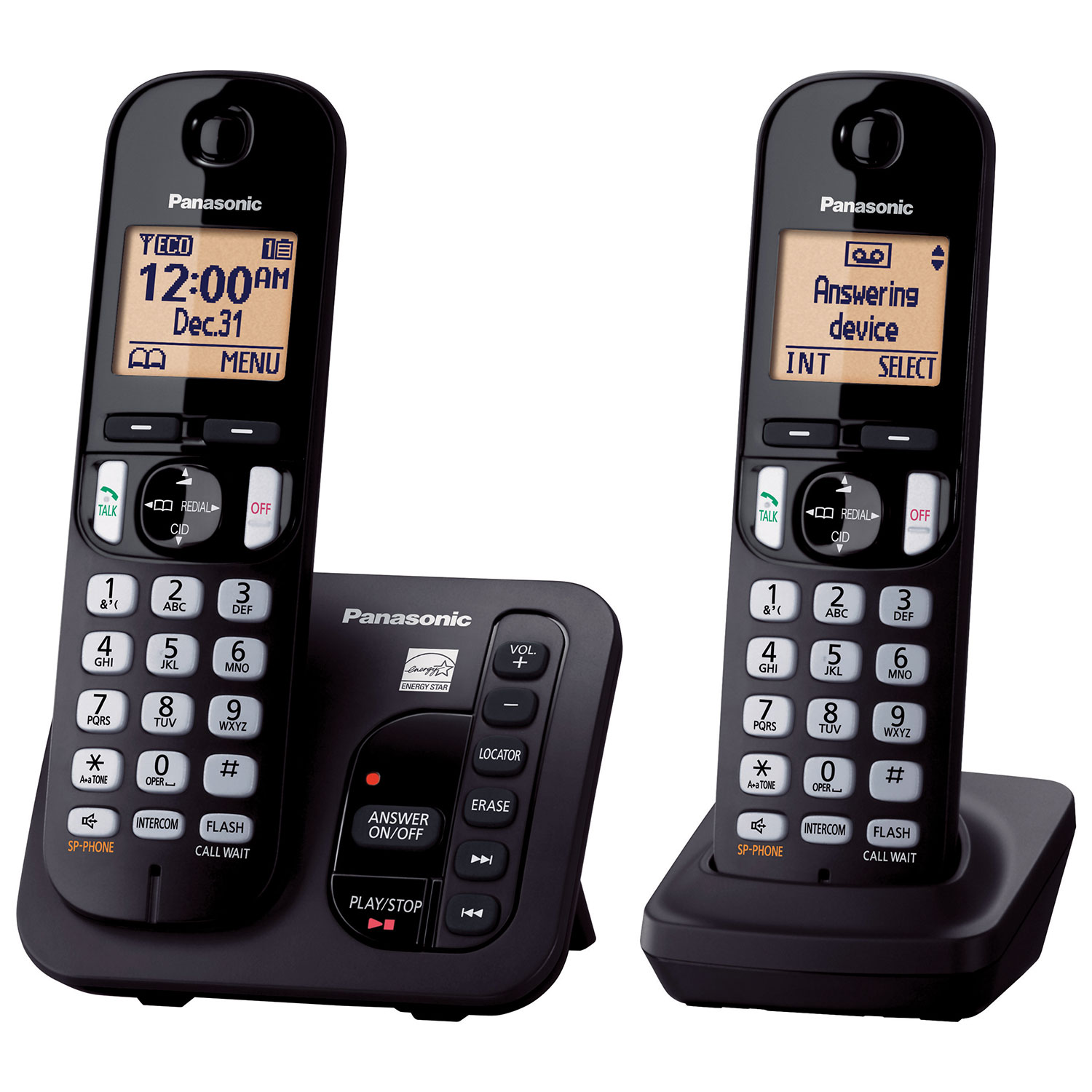 Panasonic 2handset Dect 60 Cordless Phone With Answering Machine  (kxtgc222b)  Only At Best Buy