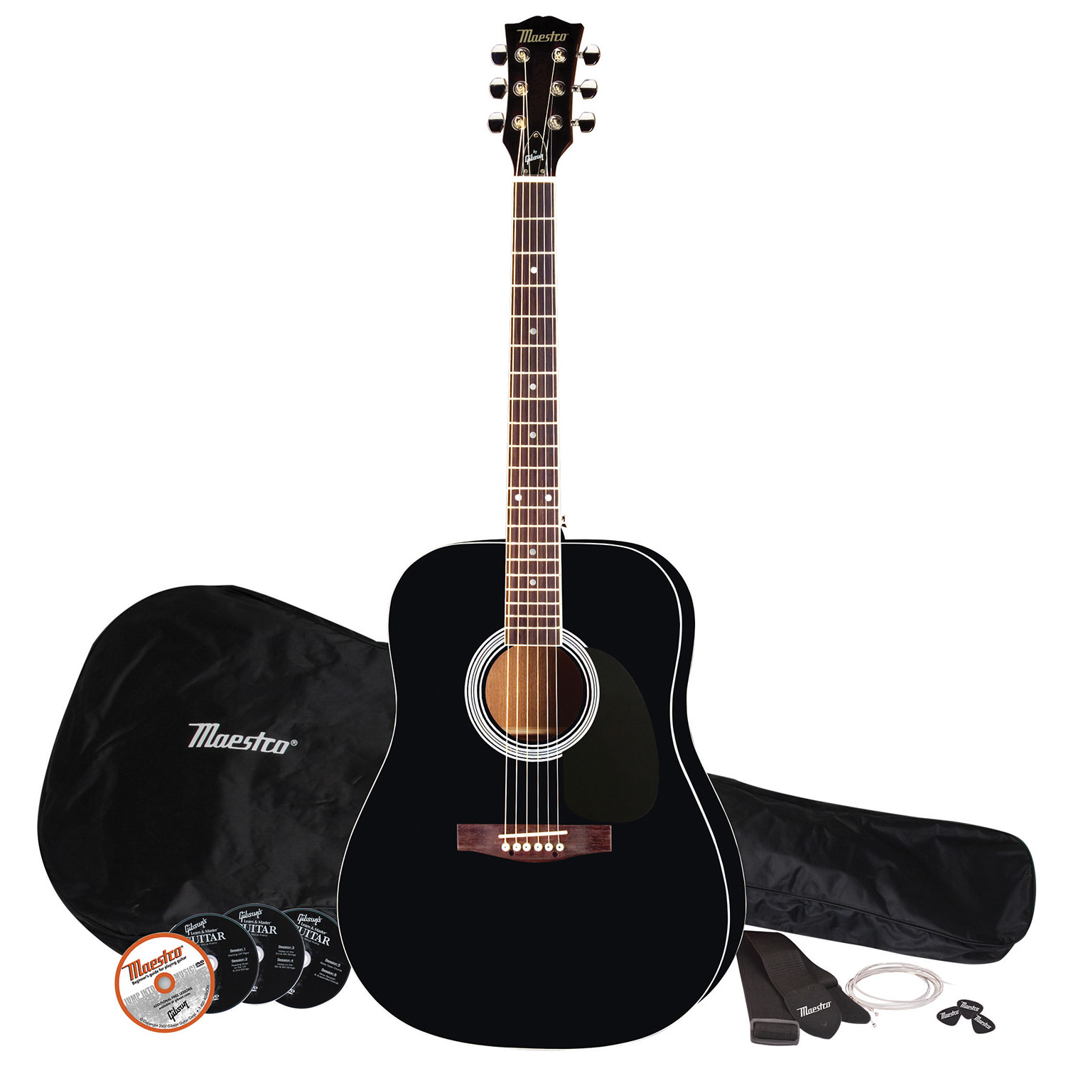 maestro by gibson 41 acoustic guitar pack black acoustic