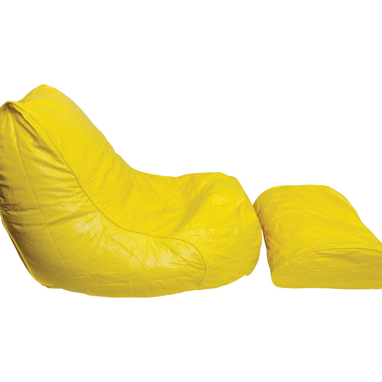 Modern Vinyl Bean Bag Lounger and Foot Rest Yellow Kids