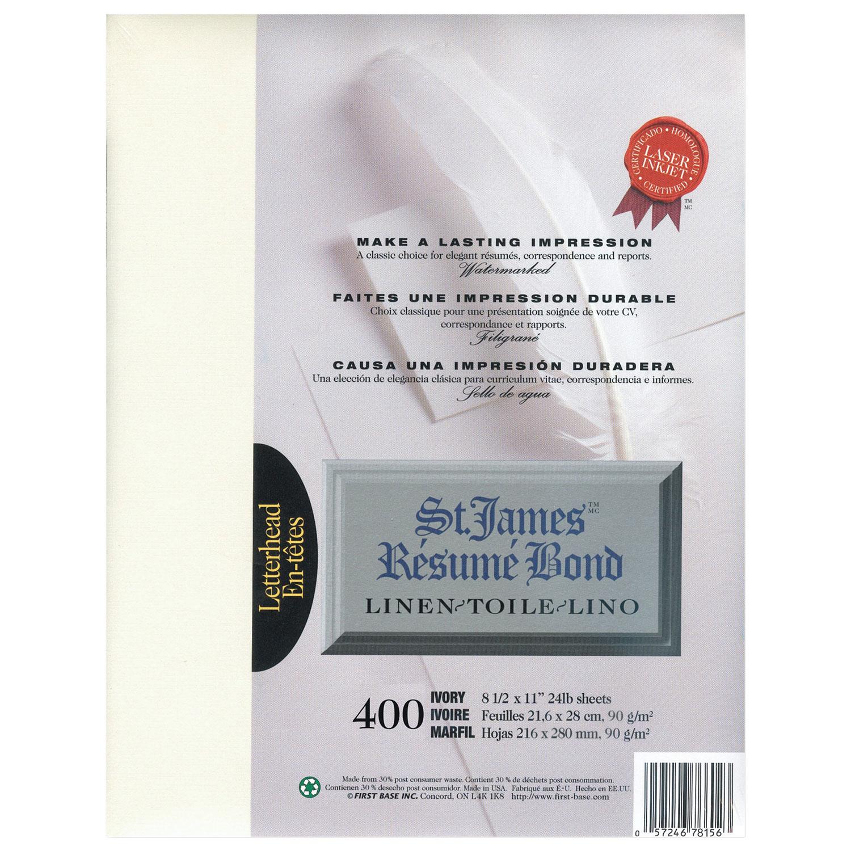 First Base 400 Pack Linen Letter Bond Resume Paper Ivory