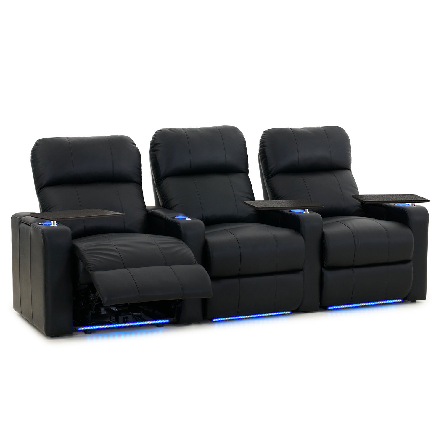turbo 3seat bonded leather power recliner home theatre seating black home theatre seating best buy canada - Movie Theater Chairs