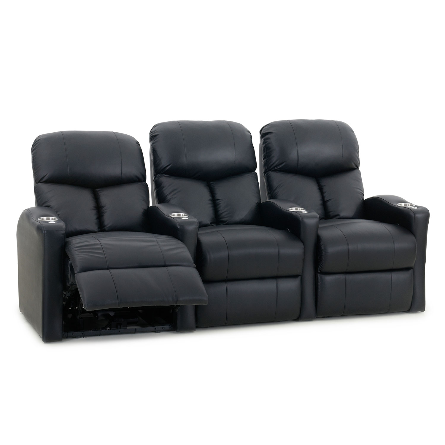 home theater couch seating. bolt 3-seat bonded leather recliner home theatre seating - black : best buy canada theater couch a