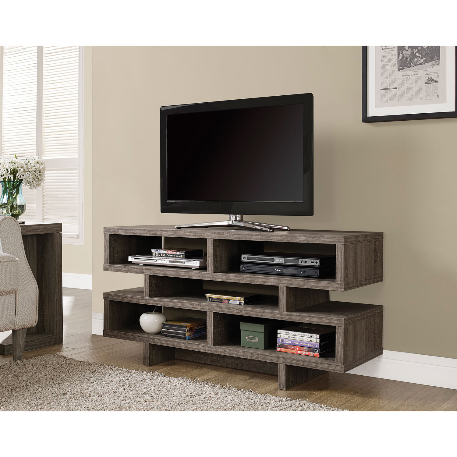 monarch tv stand for tvs up to   dark taupe  tv stands  best  - monarch tv stand for tvs up to   dark taupe  tv stands  best buycanada