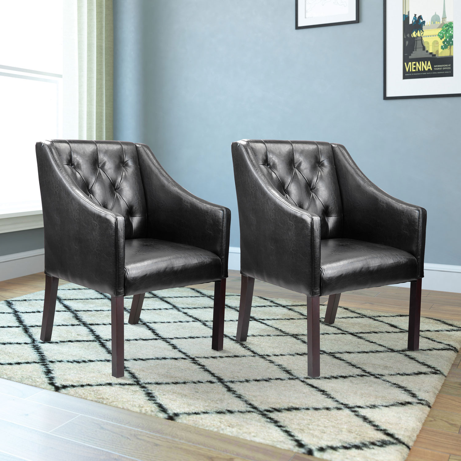 Antonio Transitional Bonded Leather Club Accent Chair Set of 2