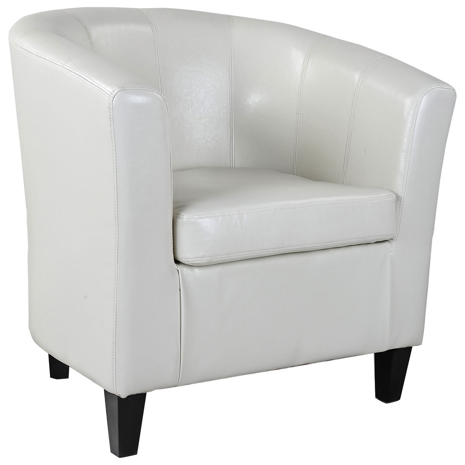 Antonio Transitional Fabric Curved Back Accent Chair Cream White