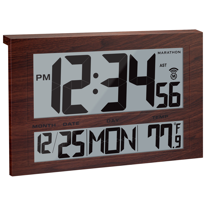 marathon jumbo atomic digital wall clock cl030025wd brown wood grain clocks best buy canada