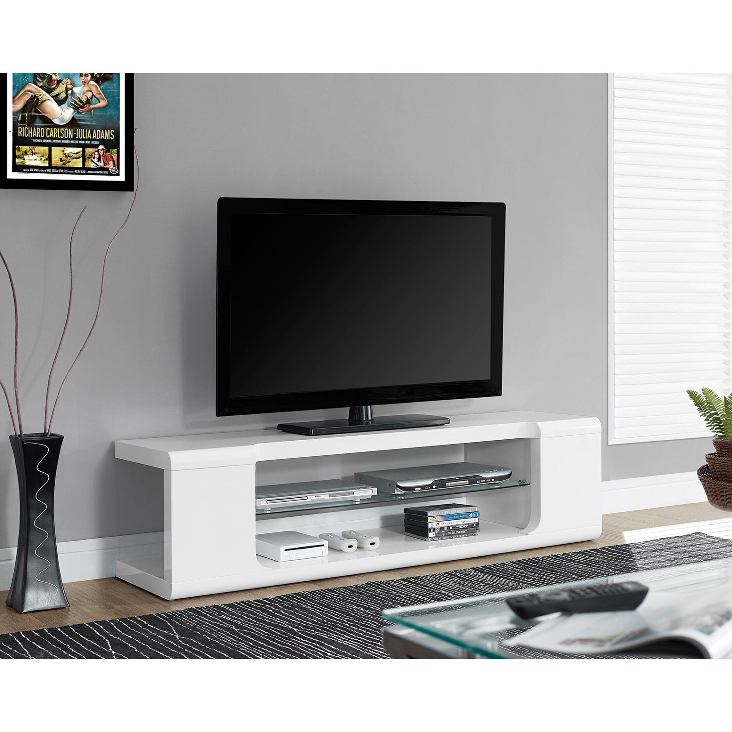 monarch tv stand for tvs up to  (i )  glossy white  tv  - monarch tv stand for tvs up to  (i )  glossy white  tv stands best buy canada