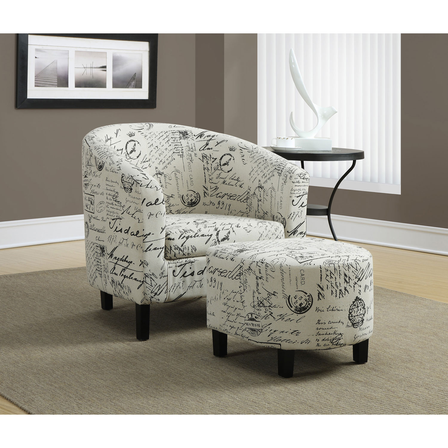 fabric accent chair monarch specialties i 800 fabric accent chair