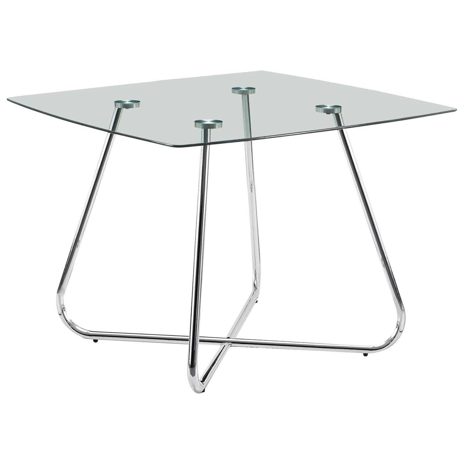 Contemporary 4 Seating Square Casual Dining Table Chrome