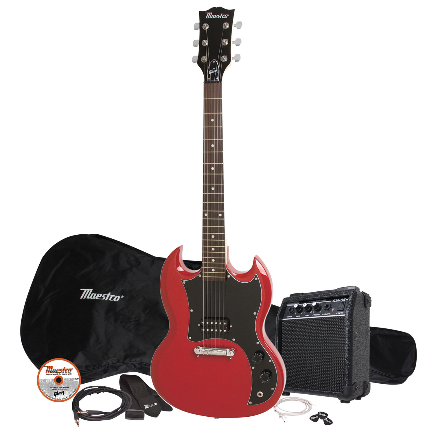 maestro by gibson sg body shape electric guitar pack mesgwrch3