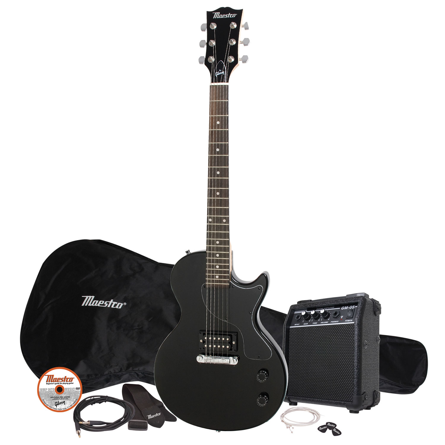maestro by gibson les paul electric guitar pack black electric