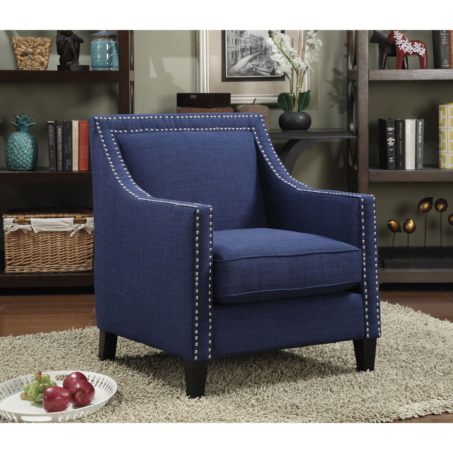 erica contemporary polyester accent chair  blue  accent chairs  - erica contemporary polyester accent chair  blue  accent chairs  best buycanada