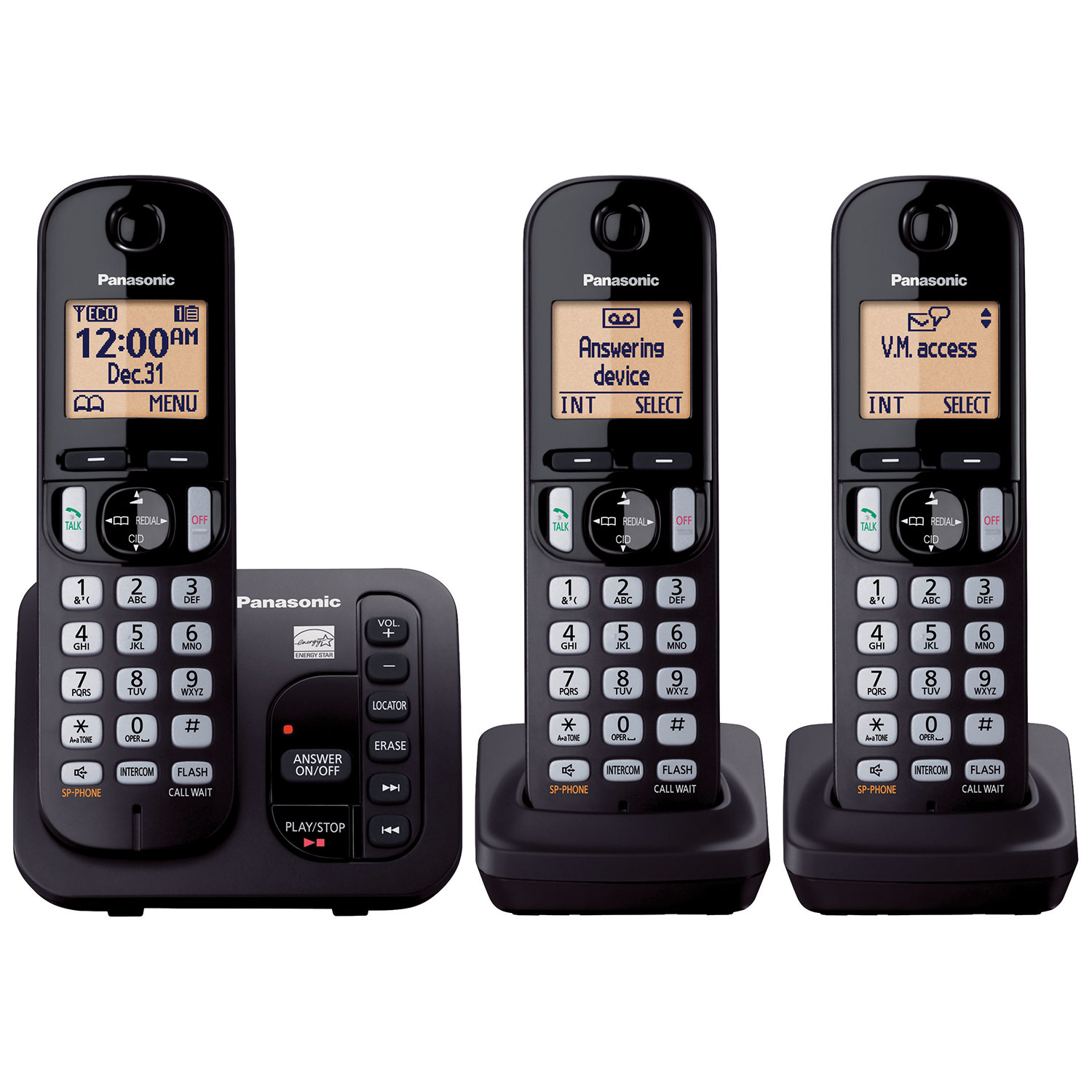 Panasonic 3 handest dect 60 cordless phone with answering machine panasonic 3 handest dect 60 cordless phone with answering machine kxtgc253b black only at best cordless phones best buy canada sciox Choice Image