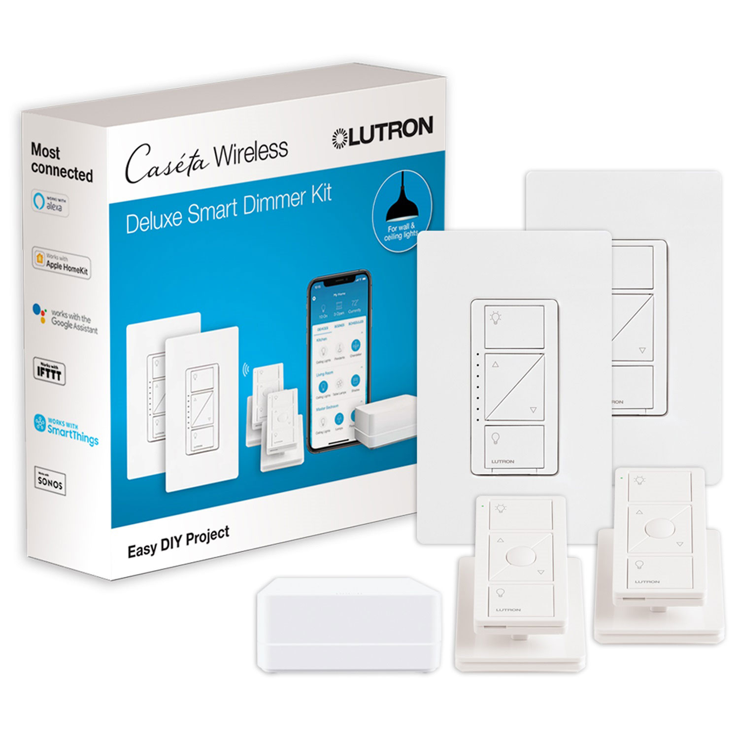 Lutron Caseta Smart Light Switch Starter Kit P Bdg Pkg2w C The Boxes One For Each Set Of Lights On A Three Way Pair Switches Plugs Best Buy Canada