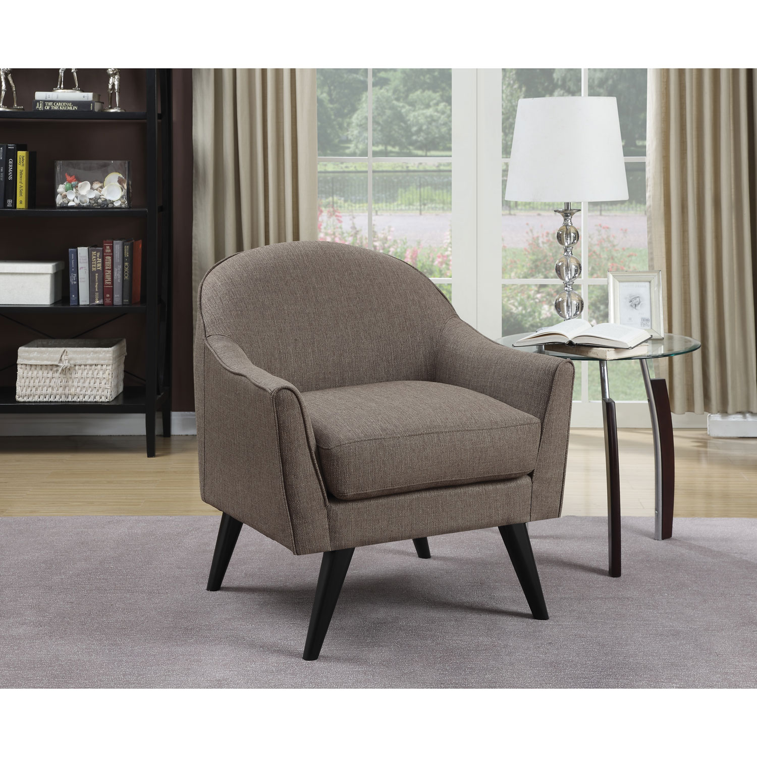 Casana Contemporary Polyester Accent Chair Brown Accent Chairs