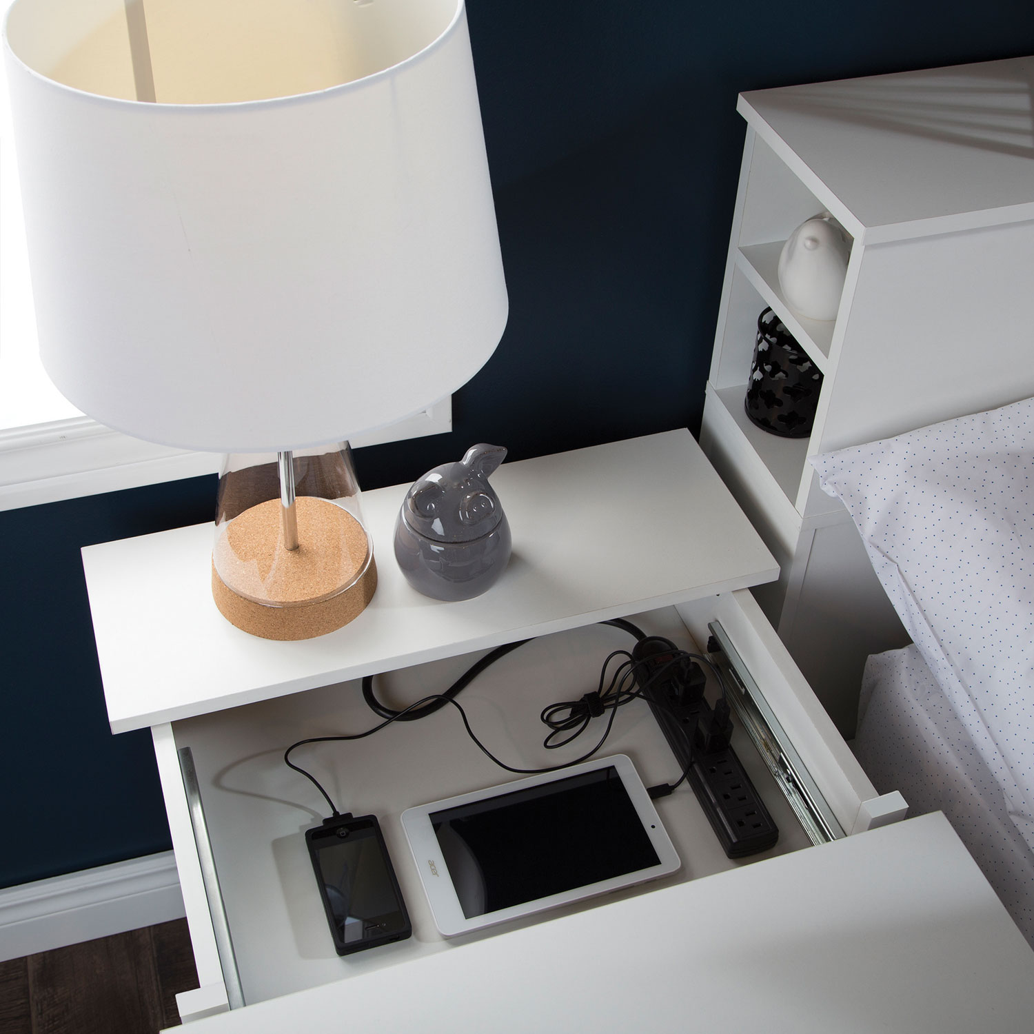 vito 2drawer nightstand with charging station pure white nightstands best buy canada