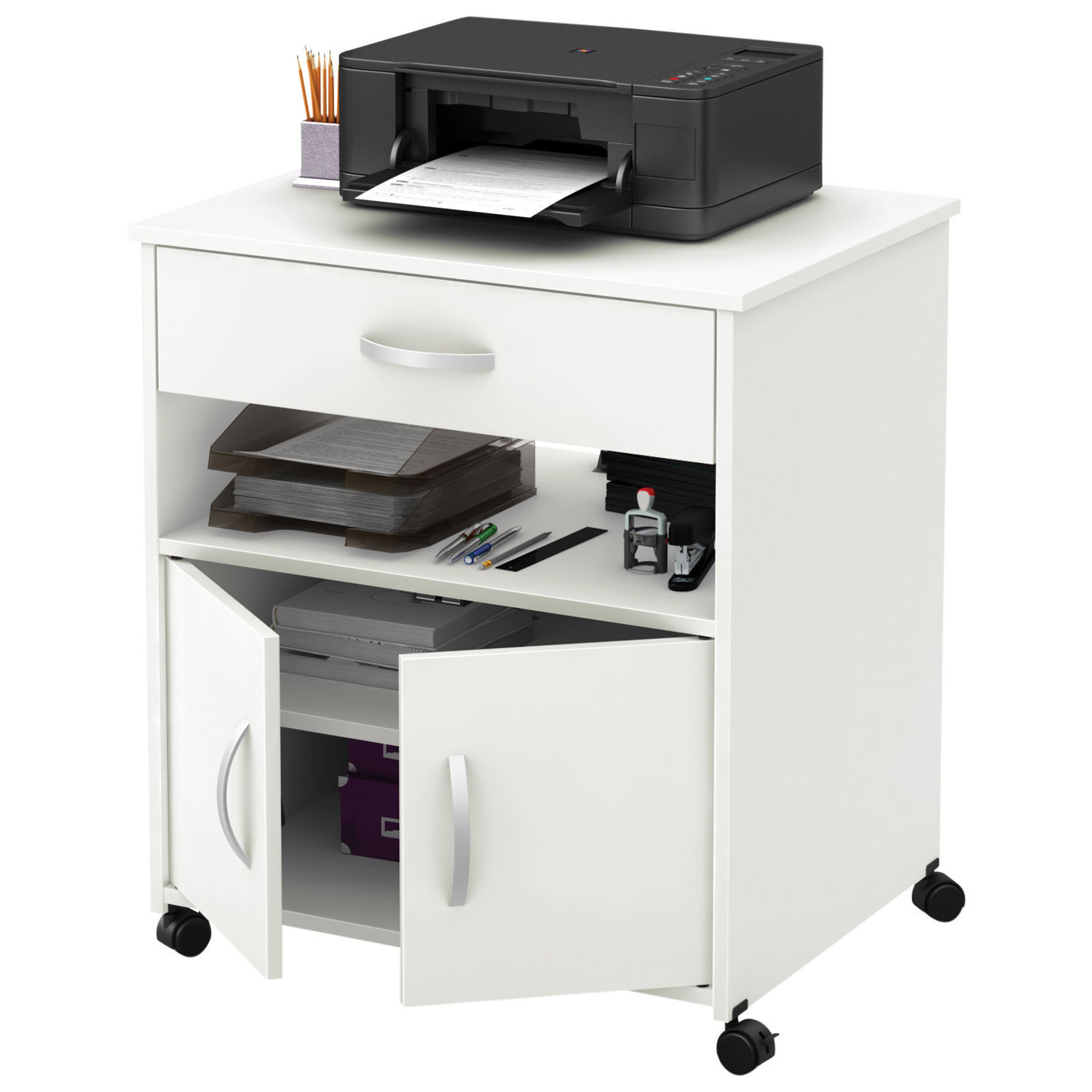 axess mobile printer stand pure white filing cabinets u office storage best buy canada with. Black Bedroom Furniture Sets. Home Design Ideas