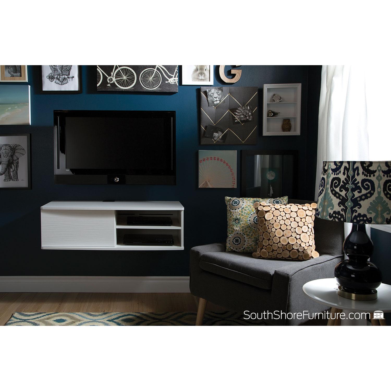 South Shore Agora 38 Wall Mounted Media Console Pure White TV