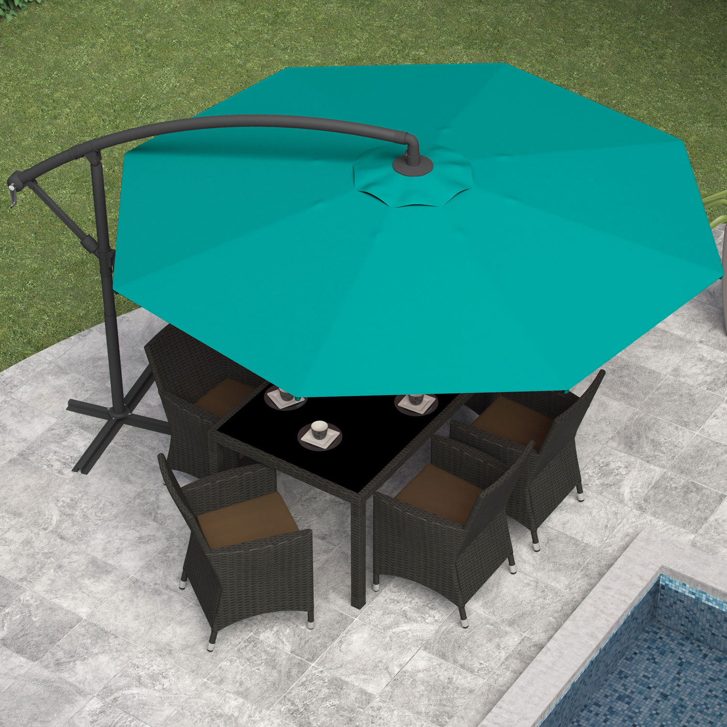 Corliving Collapsible 11 Ft Offset Patio Umbrella Turquoise Blue