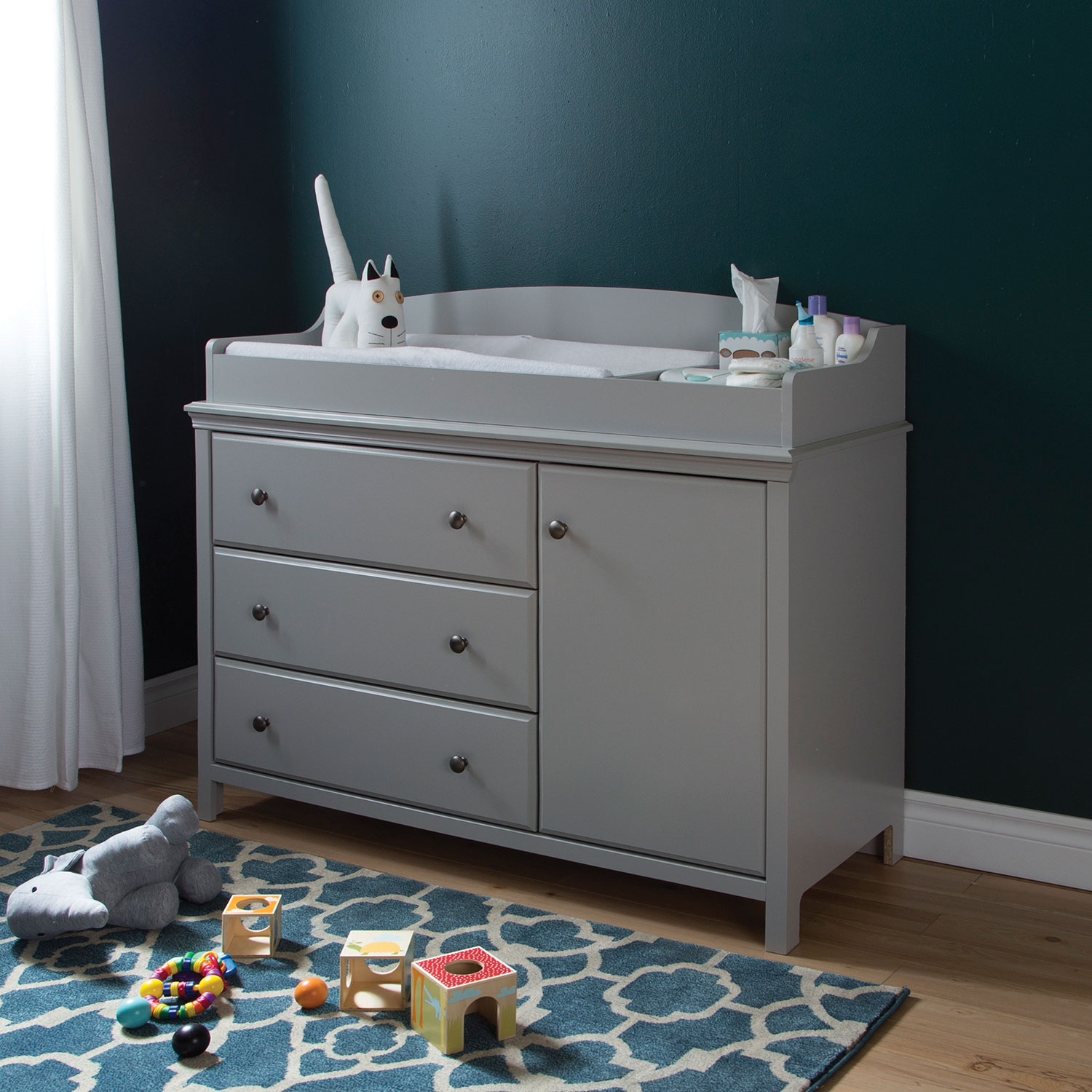south shore cotton candy changing table with removable changing  - south shore cotton candy changing table with removable changing station soft gray  change tables  best buy canada
