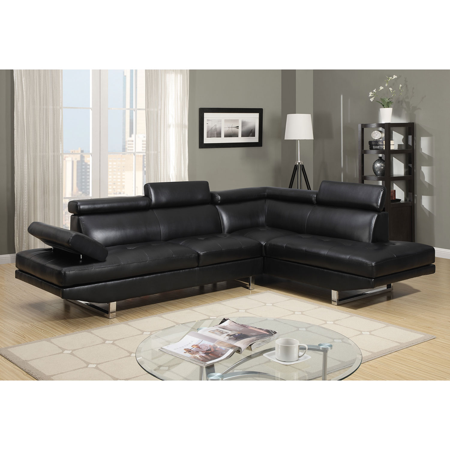Twilight Contemporary 2 Piece Faux Leather Sectional Sofa with