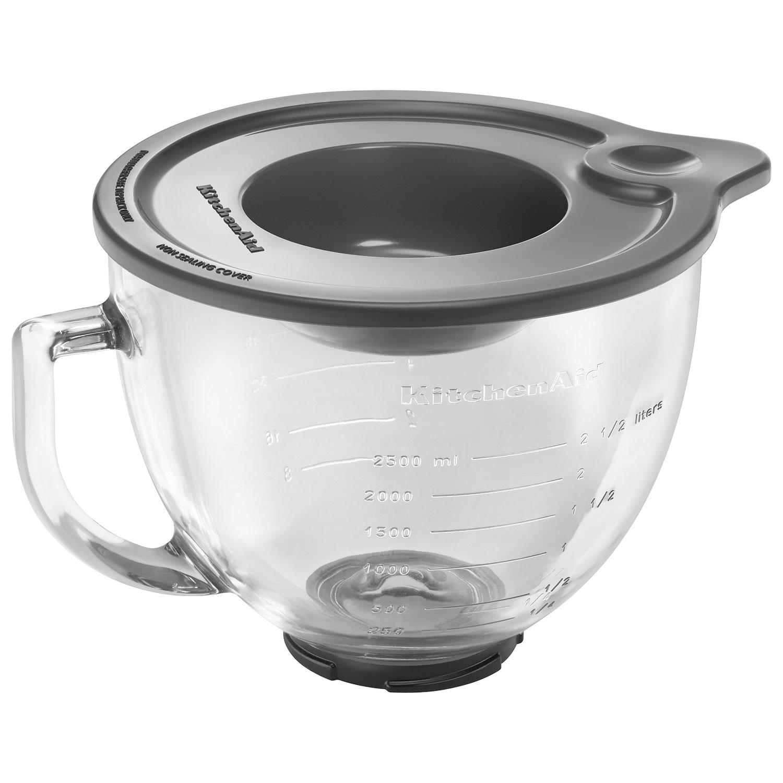 KitchenAid 5Qt Glass Bowl & Lid Stand Mixer Attachment - White ...