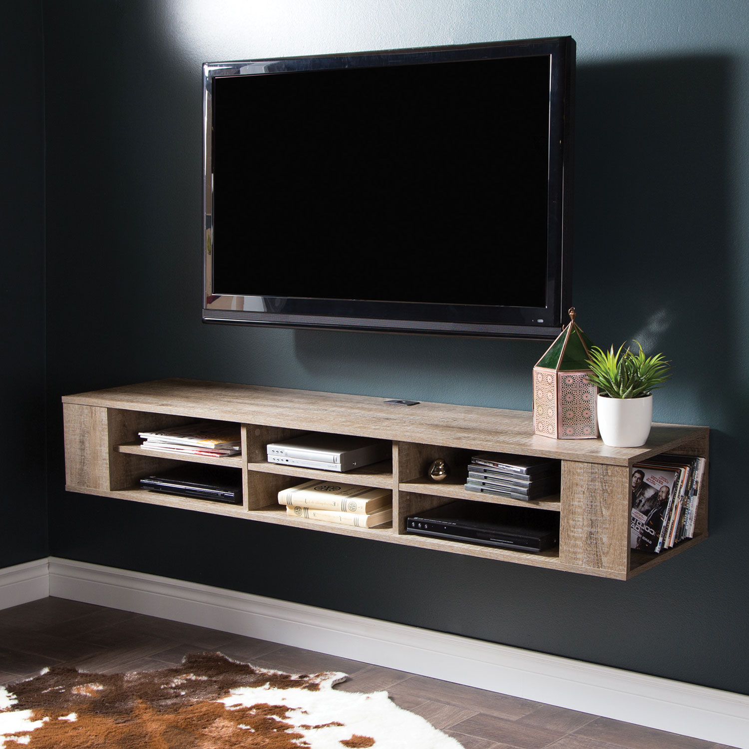 Peachy South Shore 65 Tv Console Wall Mount Weathered Oak Tv Stands Inspirational Interior Design Netriciaus
