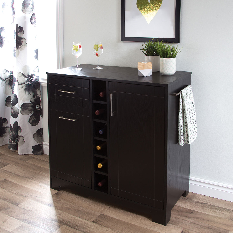 Vietti Contemporary 2-Drawer Bar Cabinet - Black Oak : Buffets ...